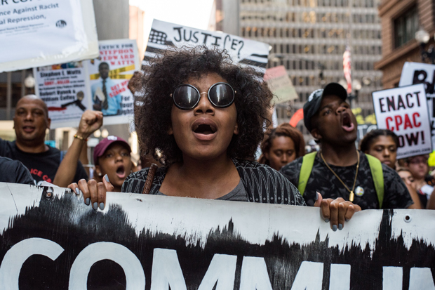 Youth activists led a Black Lives Matter protest around downtown Chicago with over 1,000 participants in Chicago on July 11, 2016. (Photo by Max Herman/NurPhoto via Getty Images)